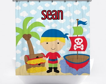 Pirate Personalized Shower Curtain for Boys - Pirate Name Shower Curtain - Custom Pirate Bath Decor - Pirate Personalized Bath Tub Curtain