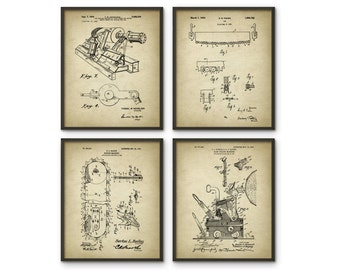Forestry Patent Prints Set Of 4 - Forestry Poster - Woodworking - Timber - Forest Work - Logging Industry - Lumber - Forestry Equipment Art