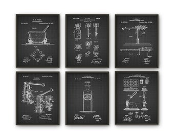 Drugstore Patent Prints Set of 6 - History Of Medicine Pharmacy Art - Chemist Inventions - Medical Student Decor - Pharmacist Wall Art Gift
