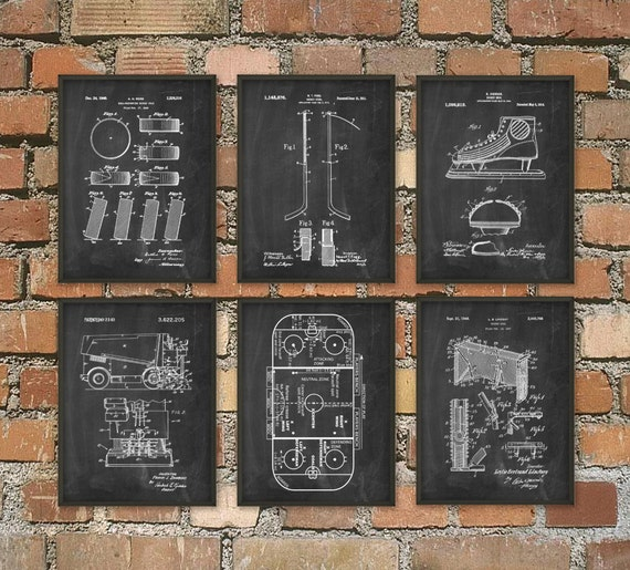 Ice Hockey Patent Print Set Of 6 - NHL Ice Hockey Stick Design - Ice Hockey Rink - Zamboni Ice Rink Resurfacer - Puck - Dorm Room Decor