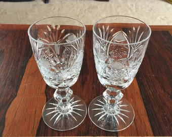 Quality Vintage Cut Glass Stemware pair of 2