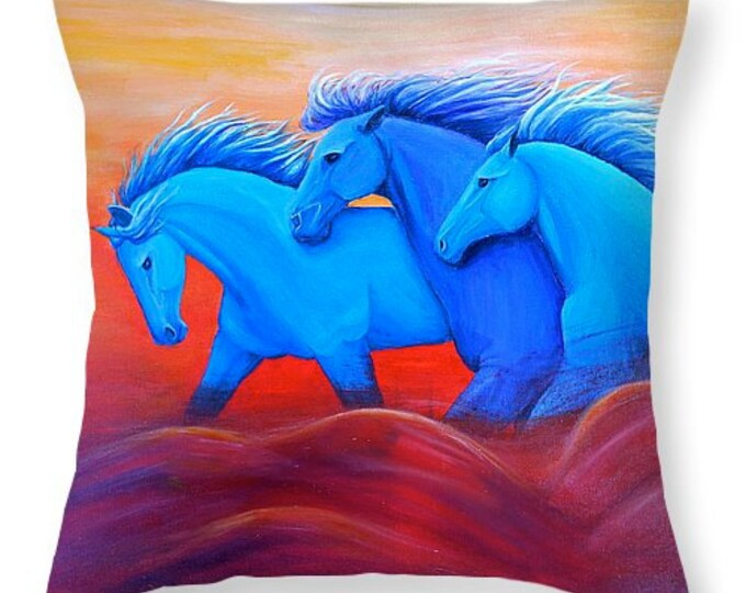 running horses pillow,  horse decorative throw pillow, colorful horse decor, original painting by Nancy Quiaoit