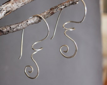 Sterling Spiral Earrings, silver earrings, sterling earrings, wire earrings, modern earrings, drop earrings