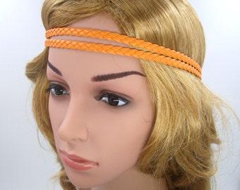 Orange Boho Headband,Leather Braided Orange Bohemian Tribal Hippie Halo Headband,Orange Double Stranded,Girls Teen Women Men Adult Hair band