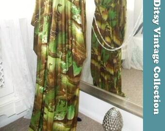 Statue of Liberty Kimono Maxi Dress 1970s - Size Medium