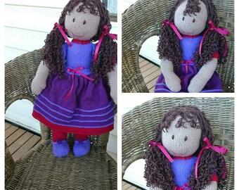 Handknit 50cm Doll with Dark Skin Tone