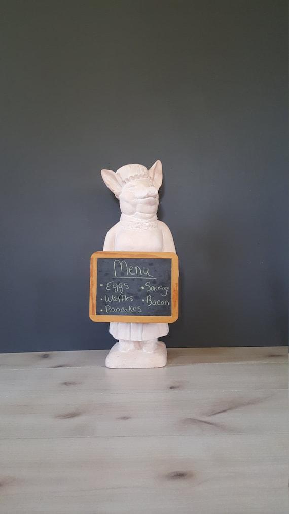 Signed Pastry Chef Pig Holding Chalkboard Vintage Pink Plast