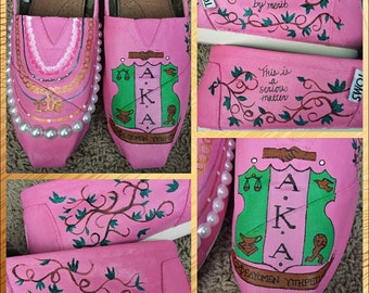 Custom painted Alpha Kappa Alpha (AKA) Toms. Designed and personalized just for you!