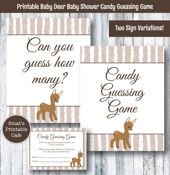 baby deer baby shower candy guessing game printable rustic theme
