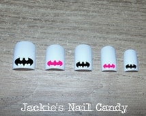 Batman Nail Decals - Black and Hot Pink Batman Logo Icon Symbol Nail Art - 25 Designs