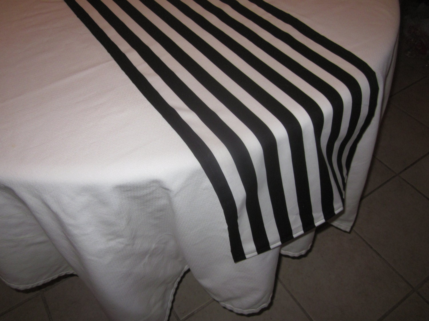 Black and White Stripe Table Runner Halloween by DelightfulSewNSew