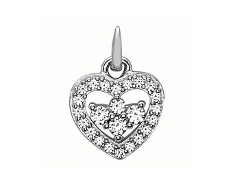 925 Sterling Silver Tiny Heart Necklace Silver Heart Pendant with Cz Stones