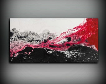 Black and White Red Painting Oil Painting GICLEE Art Print Abstract Painting Contemporary Wall Art Abstract Painting Large Wall Art Gift