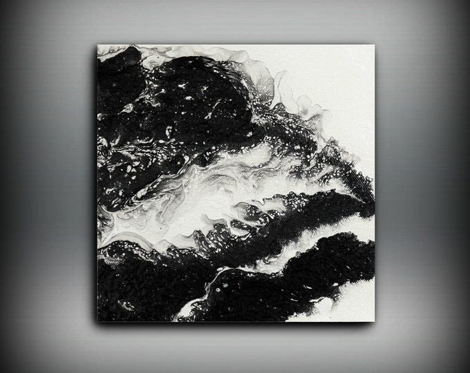 "Tiny Painting Oil Paintings Abstract Small Wall Art Canvas Black and White Home Decor Small Canvas Art Little Painting Gift for Her 8"" x 8"""