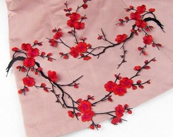 1 Pair Plum Applique Applique Embroidery  iron on  Accessory DIY, flower patch 35*20cm