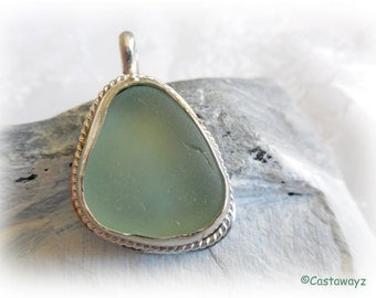 Soft Green Sea Glass and Sterling Silver Pendant