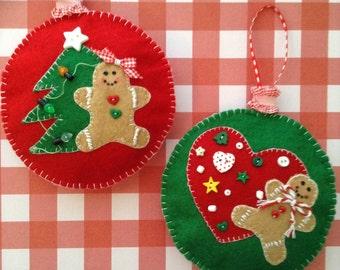Gingerbread Felt Ornaments / Christmas Tree Ornaments / Gingerbread Christmas Decorations / Set of 2 / Handmade and Design in Felt