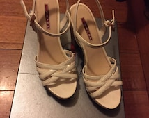 Prada platforms 38 cork and white patent leather
