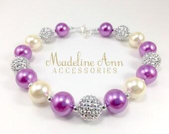Purple Chunky Toddler Necklace, Girls Sparkly Mauve Necklace, Plum Bubblegum Necklace, Purple and Silver Cake Smash Necklace