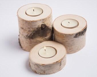 3 birch candle holders, tea light holder, woodland wedding centerpiece, rustic wedding decor, home decor, country wedding, christmas decor