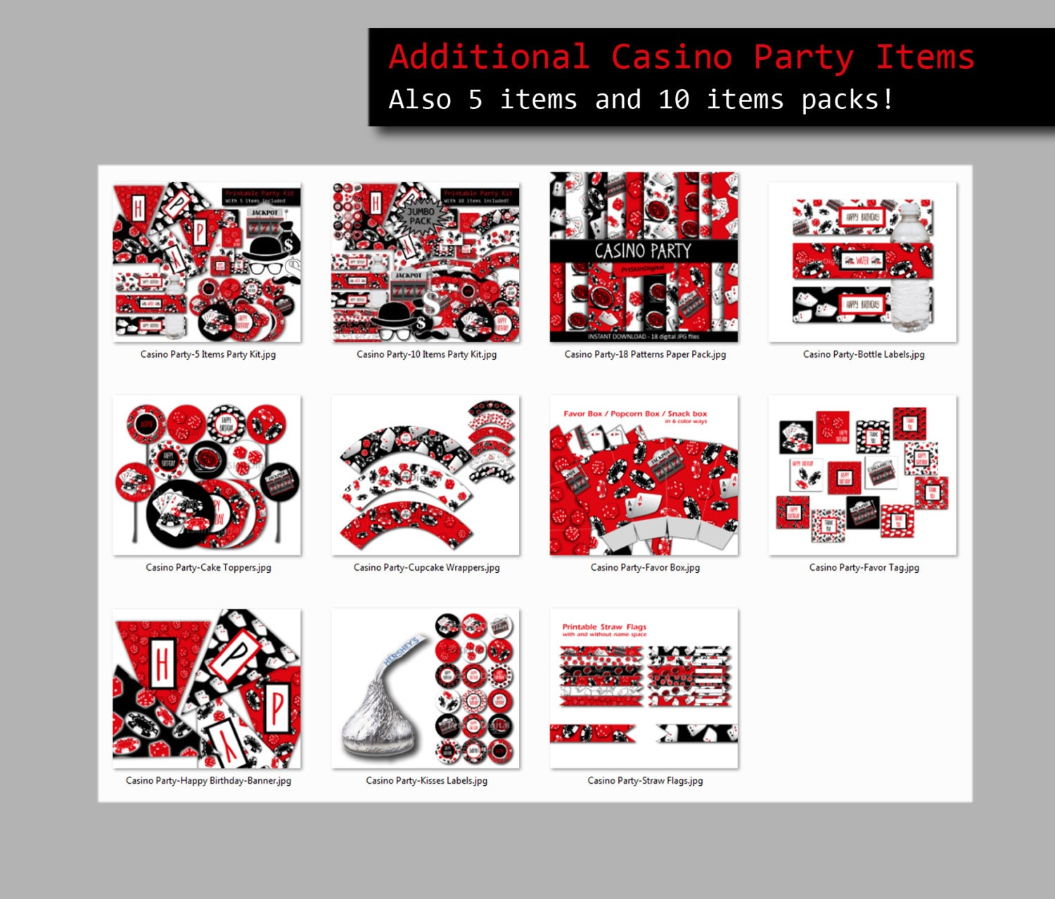 Casino Theme Party Digital Paper, Casino Party Digital Download ...