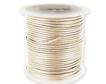 Genuine Leather cord 1mm Metallic Cream
