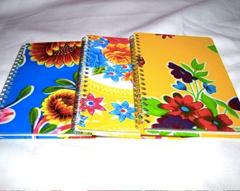 3 Handmade Oilcloth Covered Journals 5 by 7 Inches
