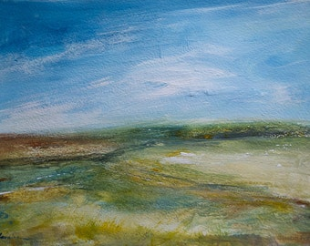 Original acrylic abstract landscape painting ACROSS THE FIELD, textured, atmospheric, modern art