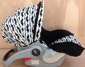 Infant Car Seat Cover- Mustaches