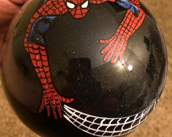Hand Painted spiderman inspired ornament