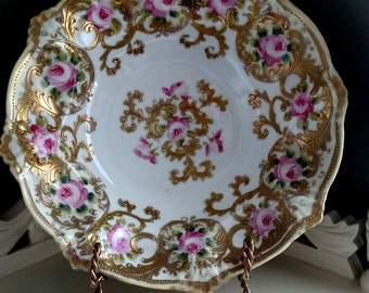Antique HEAVY Gold Gilt Porcelain Serving Bowl-Hand Painted roses-Stunning Victorian piece-Circa EARLY 1900's