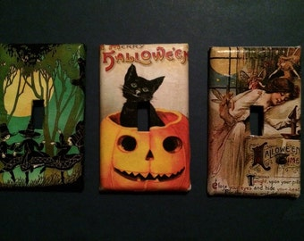 Vintage Halloween light switch and outlet covers. Dress up your room for the Holidays.