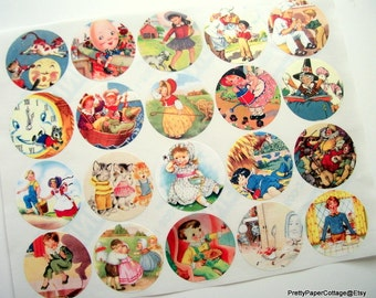 Nursery Rhyme, Stickers, Thank You, Mother Goose, Storybook Theme, Baby Shower, Birthday, Favor Bag Stickers, 20 Stickers, Large, 2 Inches