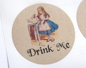 Drink Me Labels, Alice in Wonderland, Drink Me Stickers, Kraft Brown, 9 Labels, Tea Party, Large, 2.5 Inches, Stickers, Labels