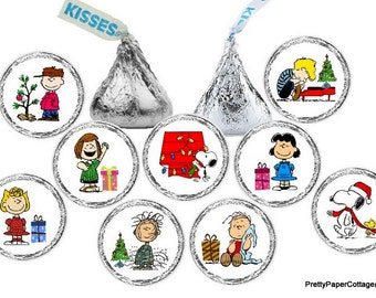 Peanuts Gang Christmas, Candy Stickers, Hershey Kiss Stickers, Charlie Brown, Snoopy, Party Favors, Small, Envelope Seal, 108 Stickers