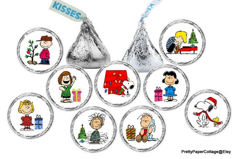 Peanuts Gang Christmas Hershey Kiss Stickers Charlie Brown