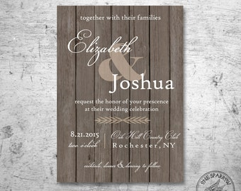Rustic Wood Wedding Invite