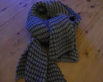 Warm knitted winter scarf