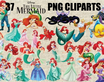 The Little Mermaid, Ariel 37 Images in 300 PPI PNG Transparent Background, Printable Digital Graphics