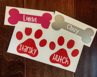 FREE SHIPPING - Pet Vinyl Decals | Personalize for Your Pets | Paw Print Decal | Dog Bone Decal