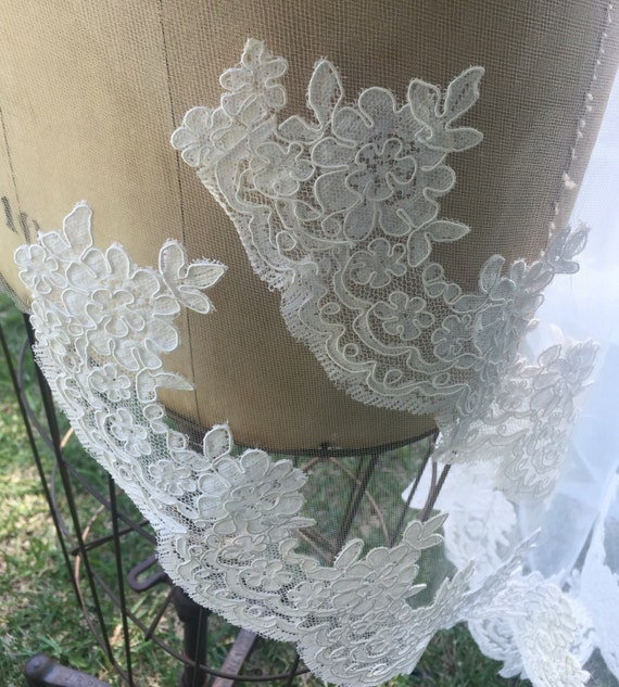 Lace Swatch, Alencon Lace, Drop veil, Lace Mantilla, Re-embroidered Lace Swatch - The SUMMER VEIL