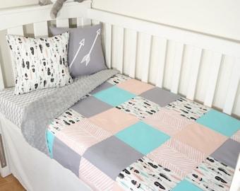 Patchwork quilt nursery set - Aqua, blush and grey feathers