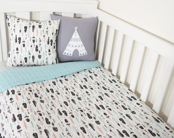 Aqua, blush and black feather nursery set