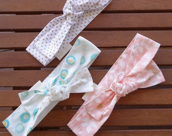 Top Knot Headbands: Gold dots, aqua spots and blush floral - Set of 3