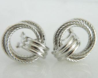 14K White Gold Beautiful Swirl Earrings