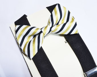 Black and Gold Stripe Bow tie And Black Suspender Set, baby bow tie, boys bow tie, gold and black, gold bow tie, adult bow tie, mens bow tie