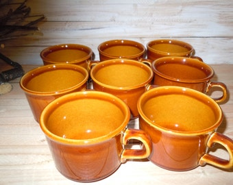 Vintage Coffee Cups, Tea Cups, U.S.A. Pottery Glazed Cups, Caramel Brown Cups