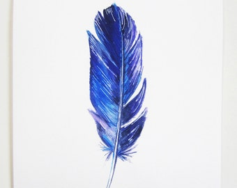 Feather Mixed Media Art - Giclee Fine Art Print - Archival - Blue - Violet