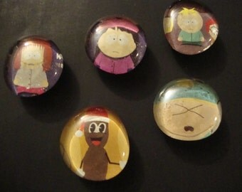 SALE - South Park Magnet Set - Five (5) Magnets - Cartman - Mr. Hankey - Wendy - Shelly - Butters - Handmade - Fridge / Locker Magnets