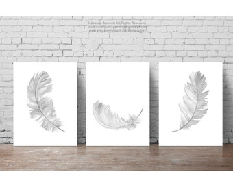 Feather Illustration set 3 Feathers Wall Poster, Minimalist Kids Room Drawing, Gray Nursery Room Art Print, Grey Down Feather Soft Painting